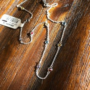 NWT**Sterling Silver Necklace w/ Colored Stones
